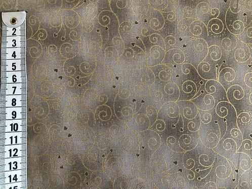 Jordfarvet bund m. guld mønster