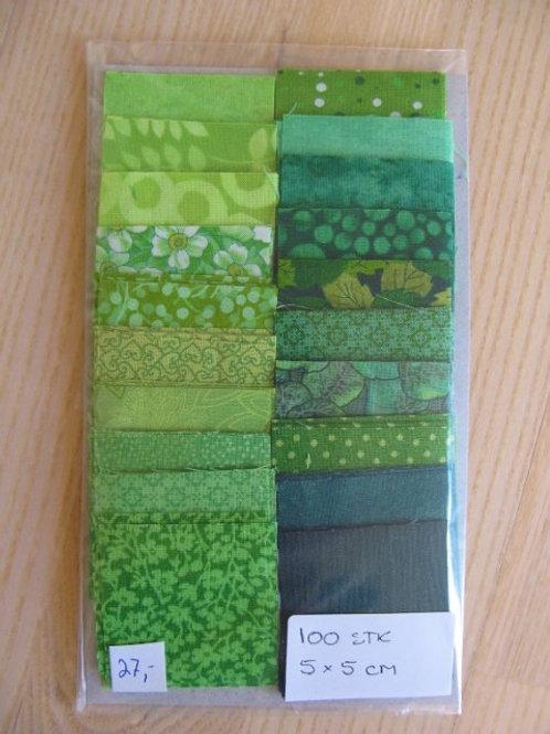 Firkanter 100 stk - 5x5 cm - grønne