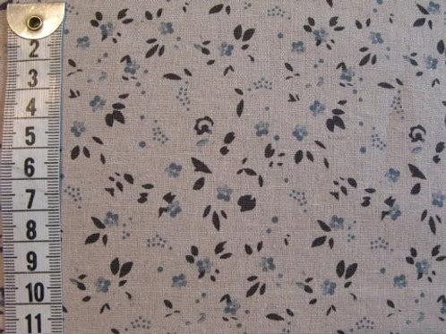 Hør/bomuld - Hør bund m. små blå blomster og grå blade