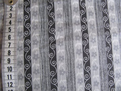 "Lys grå bund m. sort mønster i ""striber"""