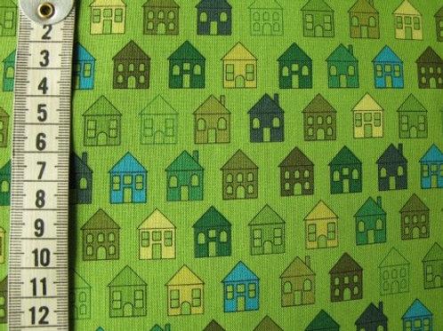 Grøn bund med grønne huse i forskellige nuancer