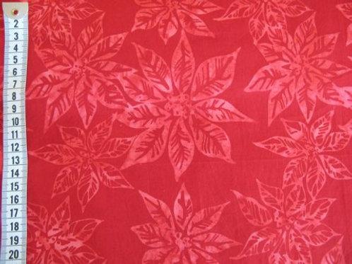 Rød bund m. lysere rød blomster - batik