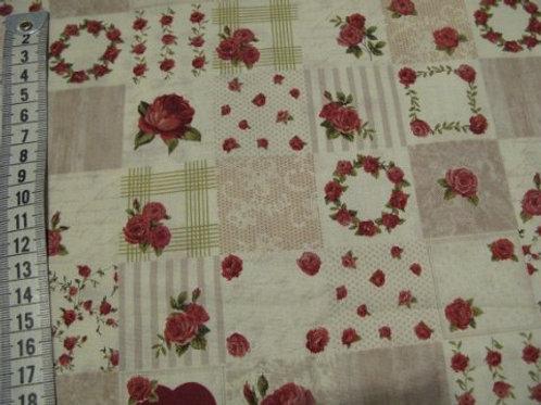 Lys og beige bund i kvadrater m rød roser