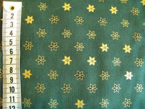 Grøn bund med guld juleblomster