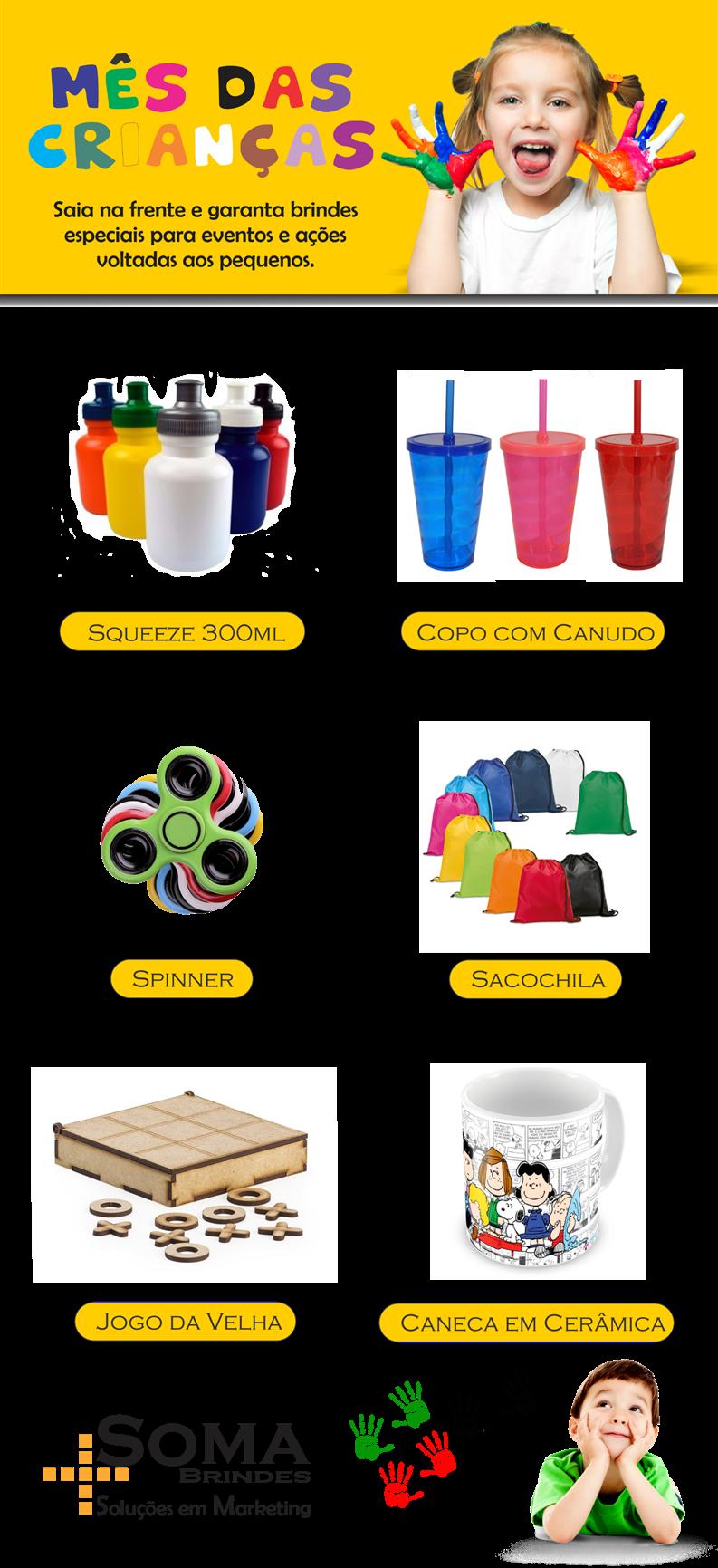 Temos uma ampla linha de produtos personalizáveis para animar o dia mais feliz do ano, seja um copo com canudo, spinner,  caneca em cerâmica, squeeze, jogo da velha, entre outros. Confira!