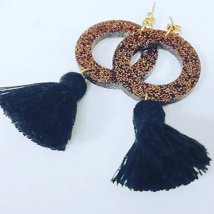 Copper and black tassel earrings