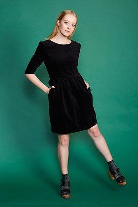 BLACK VELVET V DRESS