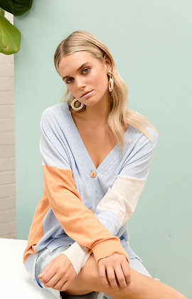 LINEN COLOUR BLOCK CARDI