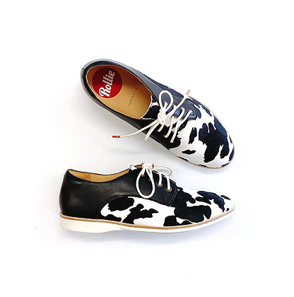 DERBY BLACK LEATHER / COW PRINT