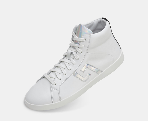 PRIME HIGHTOP WHITE LEATHER IRRIDESCENT