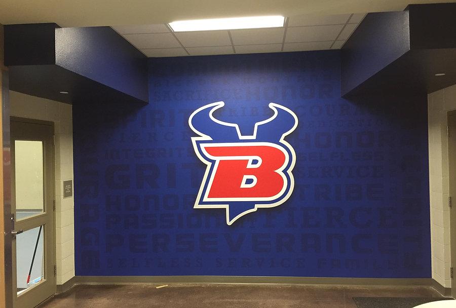 Printed wall mural at Bigfork High School.
