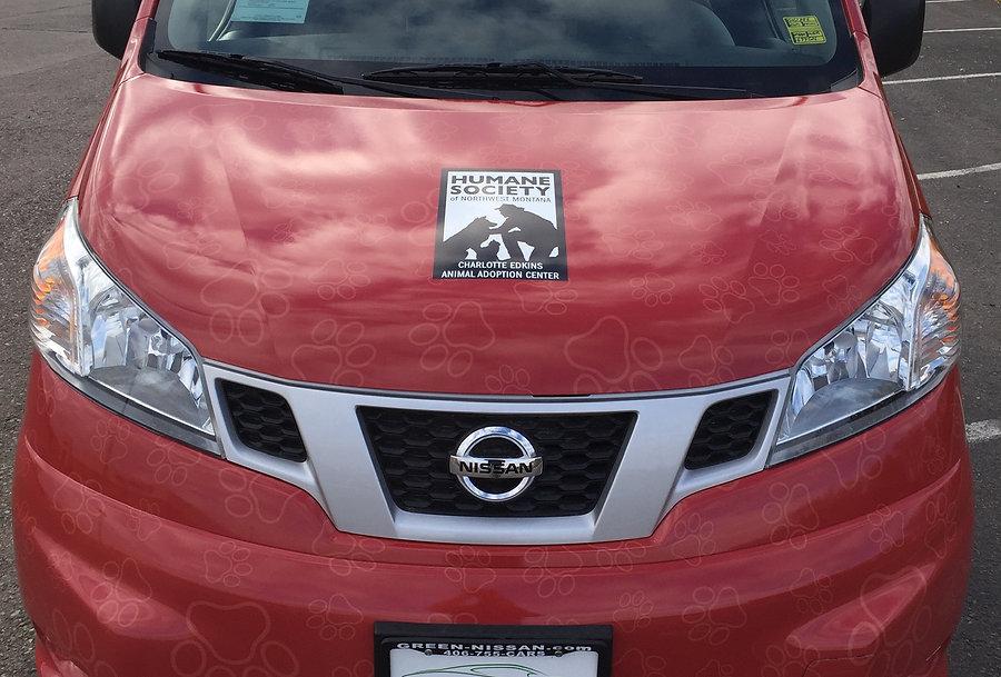 Paw print pattern on the hood of van
