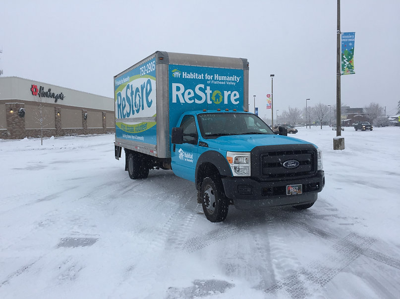 Full box truck and cab wrap for Habitat for Humanity, Kalispell, MT by Wrap Hive.