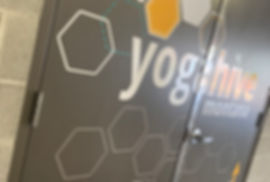 Close up of Yoga Hive door decals. By Wrap Hive
