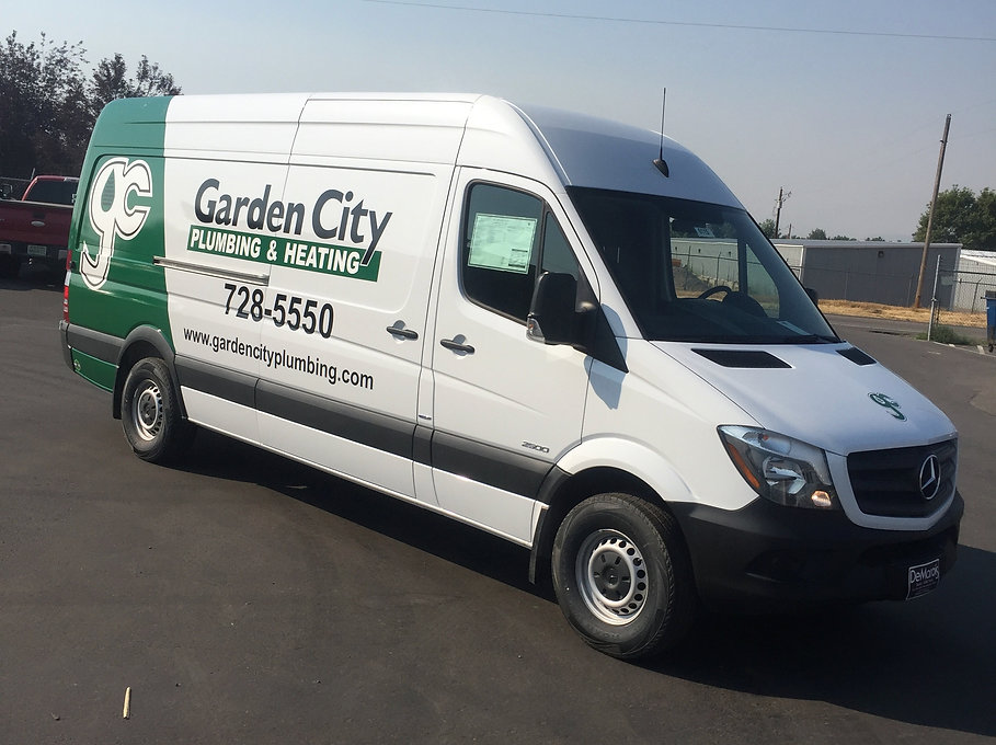 Mercedes Sprinter van, Garden City Plumbing and Heating, partial wrap by Wrap Hive, Kalispell