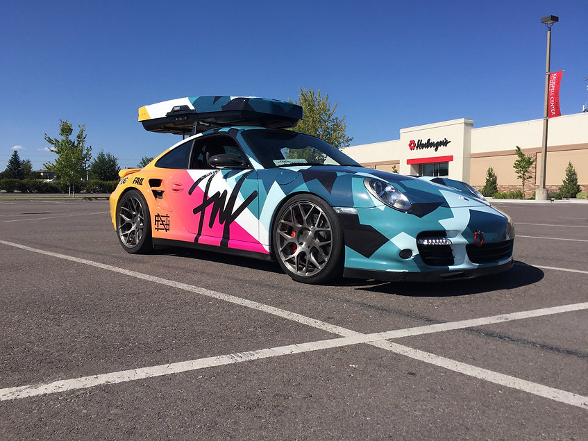 Flag Nor Fail custom wrapped Porsche