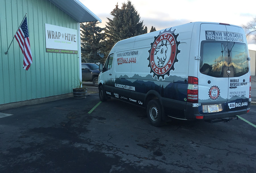 Glacier Cyclery spinter van partial mountain wrap and decals | Whitefish, Montana | Wrap Hive