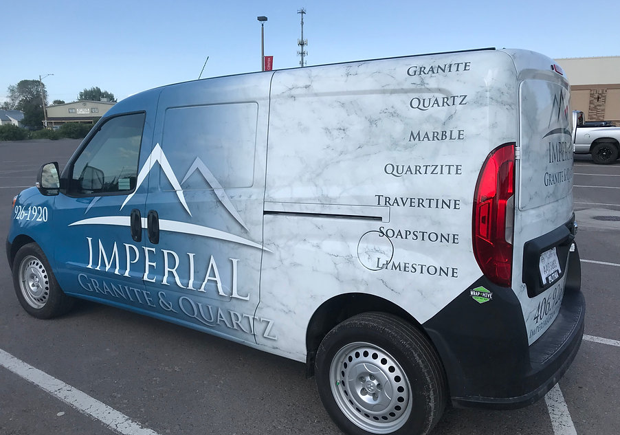 Full wrap with blue to granite gradient, for Imperial Granite and Quartz in Missoula, Montana