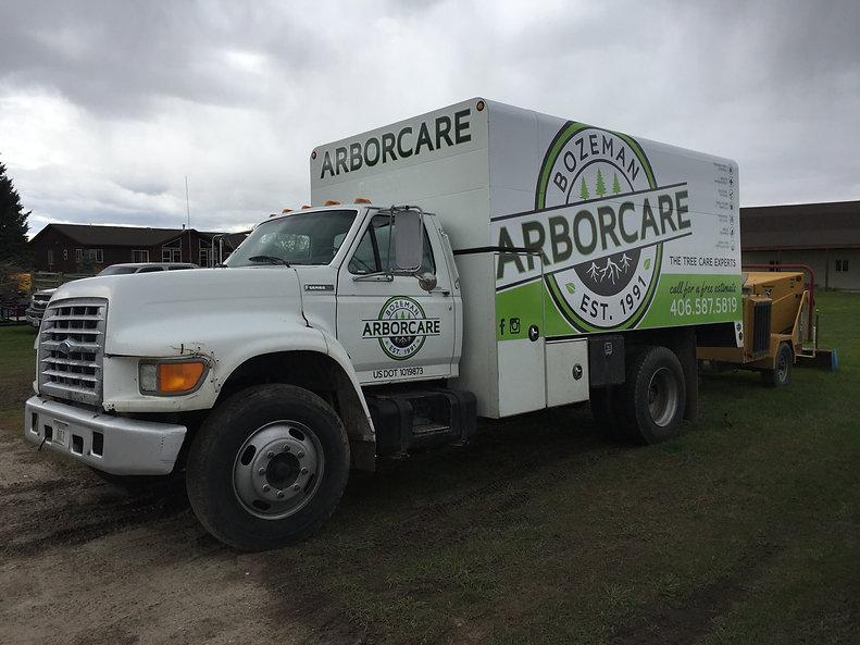 Bozeman Arborcare chip truck vehicle wrap by Wrap Hive.