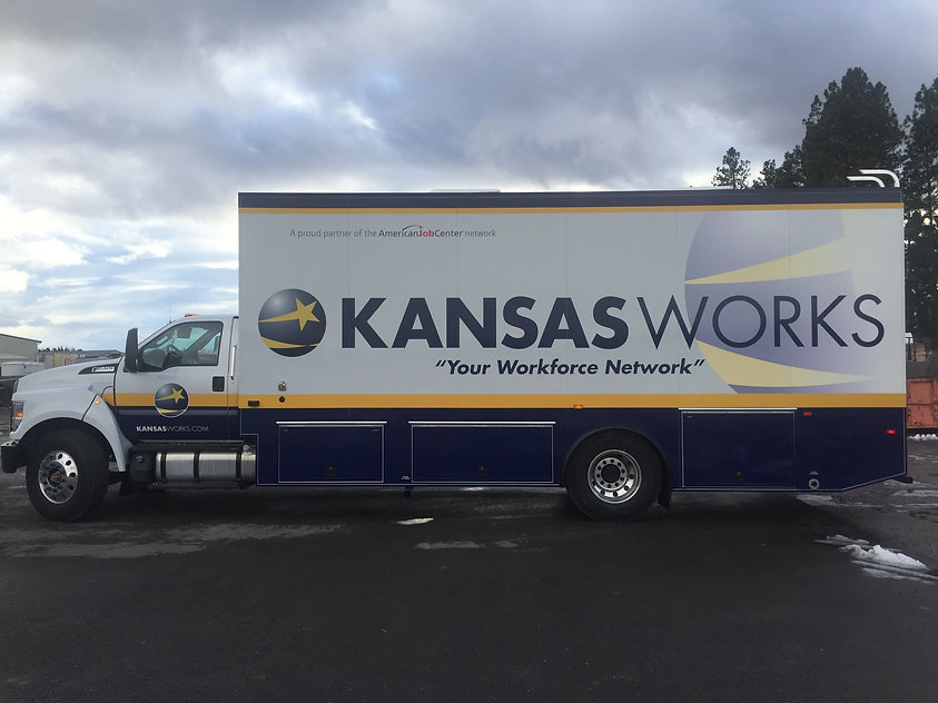 Side View of partial wrap for Nomad - Kansas Works Truck