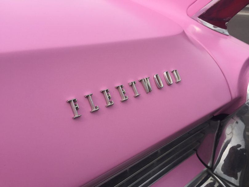 Pink Color change wrap for Fleetwood Cadillac