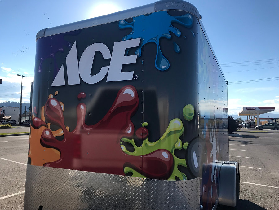 Full wrap on ACE paint studio trailer. Front
