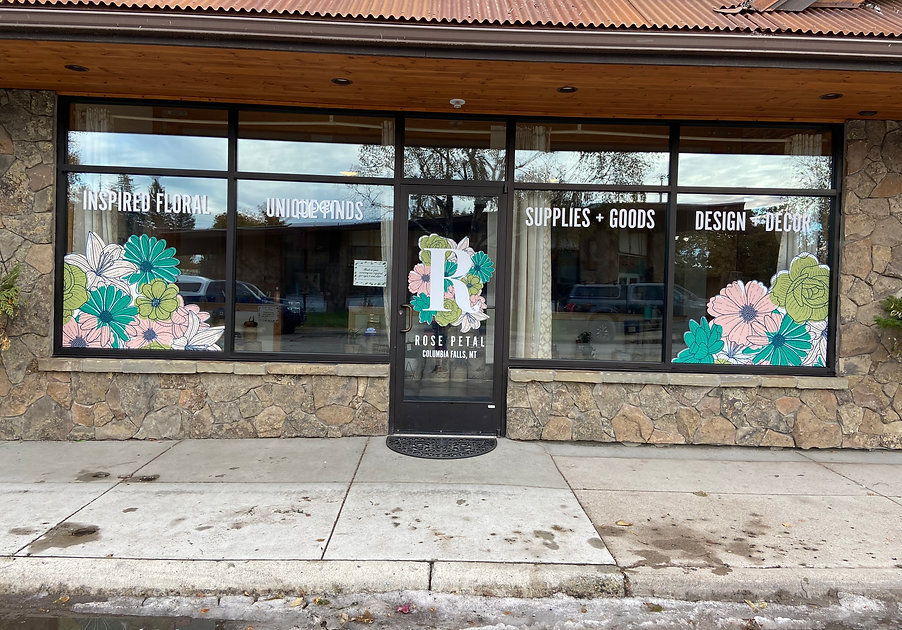 Floral decals on window in Columbia Falls, Montana