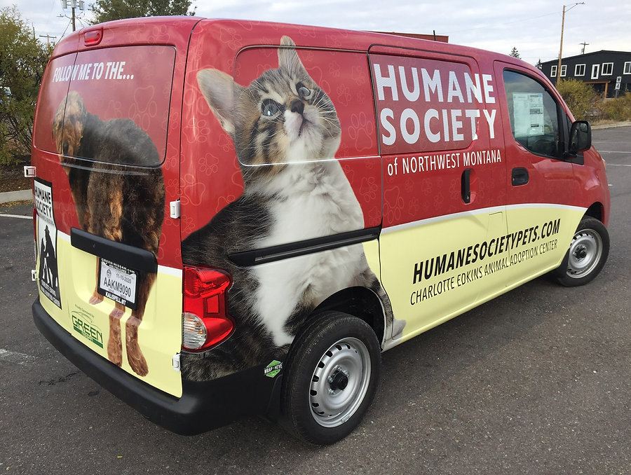 Custom gloss full wrap for the Humane Society of Northwest Montana, by Wrap Hive
