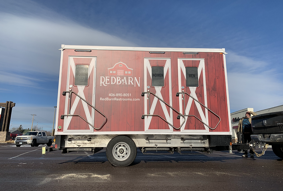 Front view of trailer, wrapped by Wrap Hive in Flathead Valley Montana