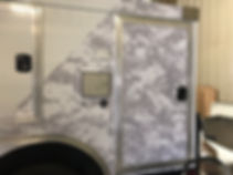 Partial wrap with gray camo for Nomad Tactical Communications Trailer | Wrap Hive