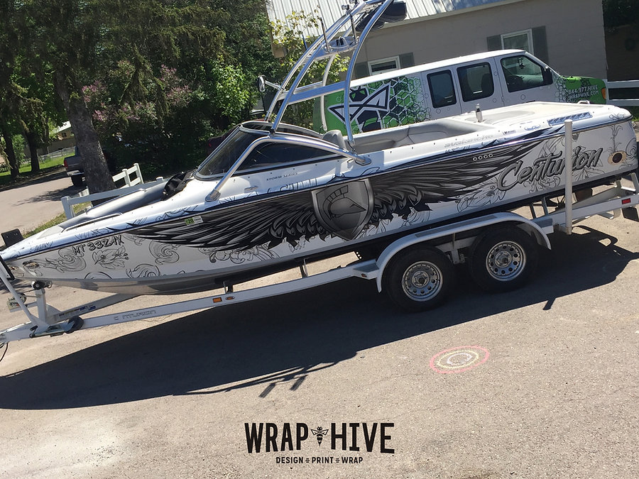 Boat wraps and graphics at Wrap Hive in Kalispell Montana, Centurion Boat wrap