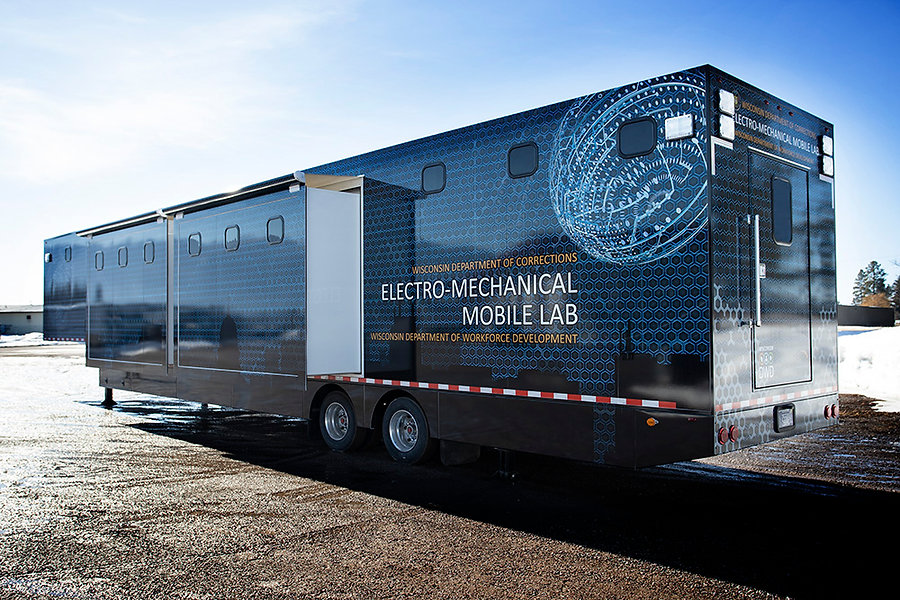 WI department of workforce developement mobile lab wrapped by Wrap Hive in Kalispell