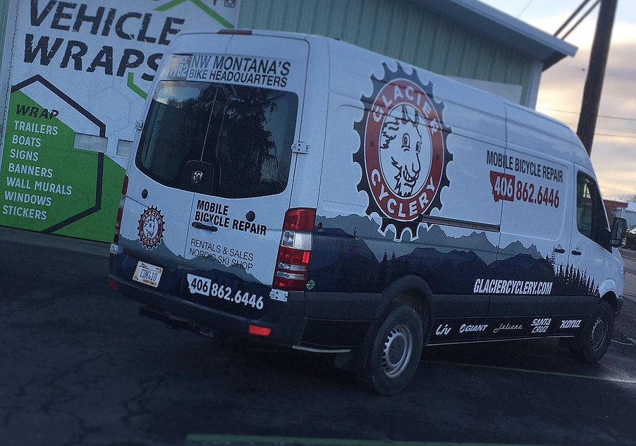 Glacier Cyclery mobile bike repair van wrap