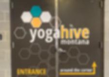 Yoga Hive honeycomb door decals by Wrap Hive