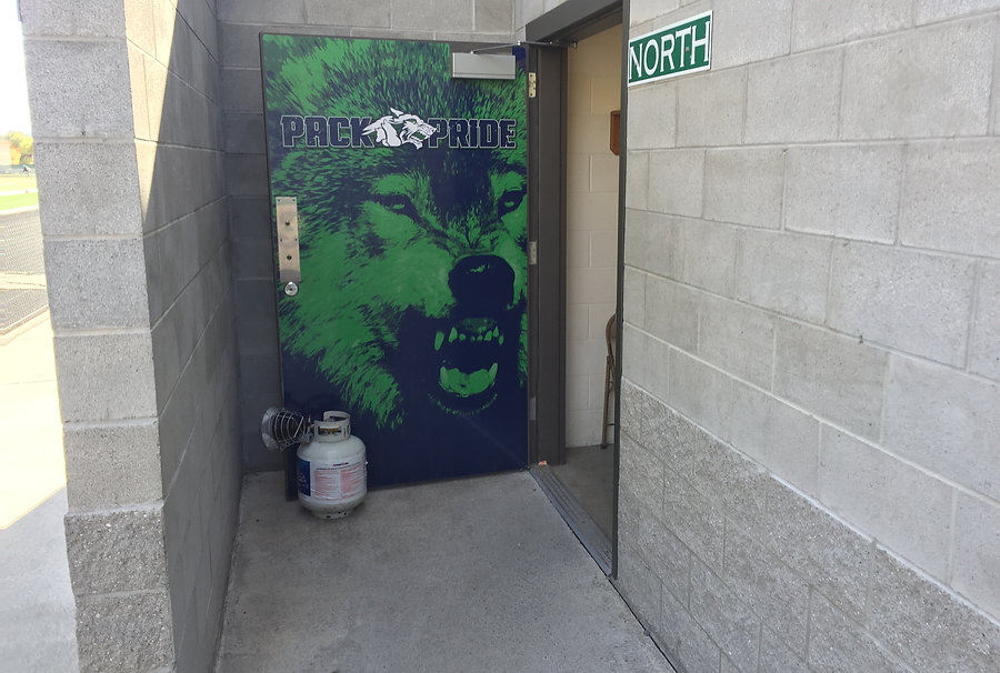 Printed wolf photo wrap on door