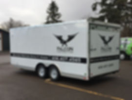 Partial wrap graphics are a great way to advertise for you business on a budget! Falcon Contracting in Kalispell, Montana.