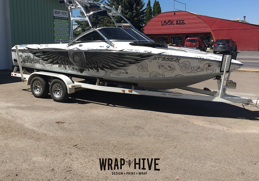 Boat wrap graphics and design by Wrap Hive Kalispell Montana