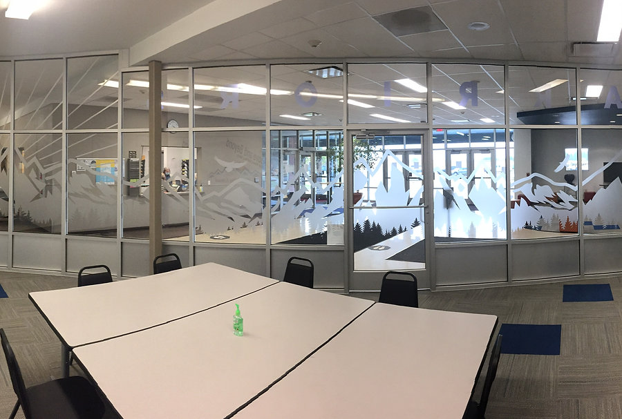 colored frosted window decals for West Valley School