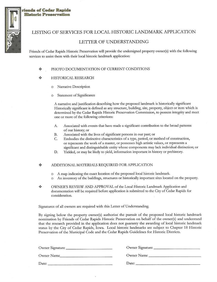 Letter of Understanding on Historic Land