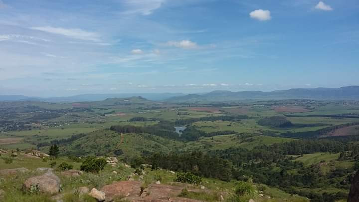 View of Swaziland Eswatini from execution rock nyonyane looking across Mlilwane game reserve
