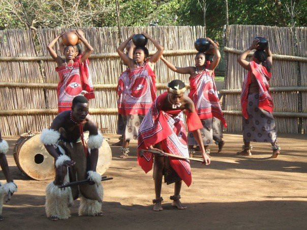 Swazi traditional dress and dancing in cultural village homestead Swaziland Eswatini