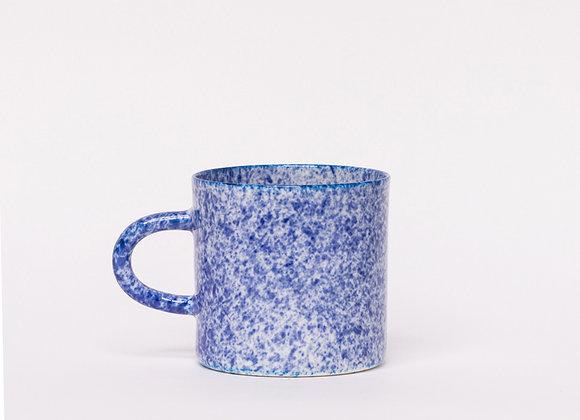 mug blue splatter dense