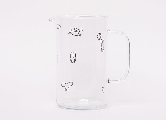glass jug with cute characters