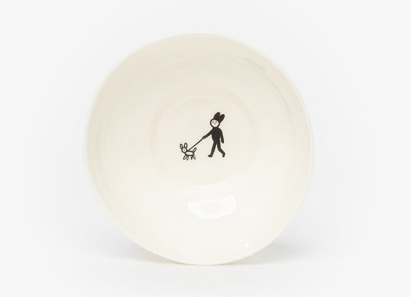 small bowl guy with a dog