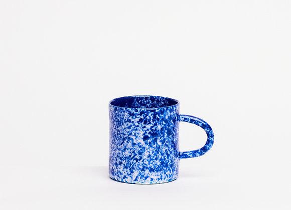 small mug blue splatter dense