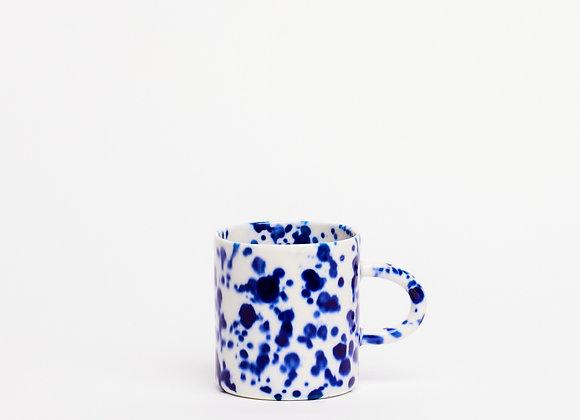 small mug blue splatter
