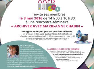 Séminaire avec Marie-Anne Chabin - 03 mai 2016 - Namur