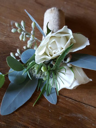 boutonniere, white and green