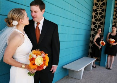 wedding floral, orange
