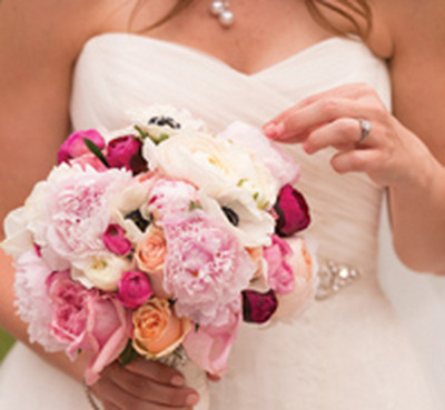 wedding floral, pinks and peach